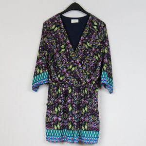 Everly Romper Deep V Neck Multicolored Size Large